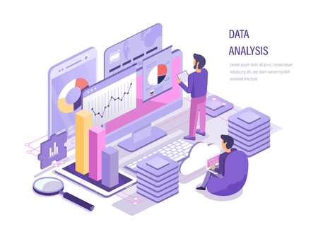 Data analysis. Analysis business, data analytic of graphs, charts, financial research, strategy planning, marketing, team analyze diagrams, study of performance financial budget isometric vector. 向量圖像
