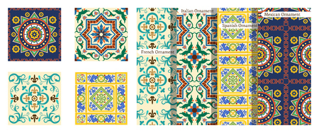 French seamless background, mexican pattern with ornaments, decoration, colorful Spanish decor with beautiful mosaic. Tiles in Italian style, for wallpaper, backgrounds, designs. Vector illustration.