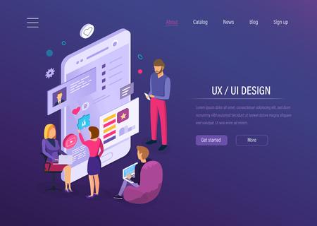 UX UI design. Interface development for user mobile app, desktop applications, graphic design and digital prototyping, application development, kit for mobile device seo programming isometric vector.