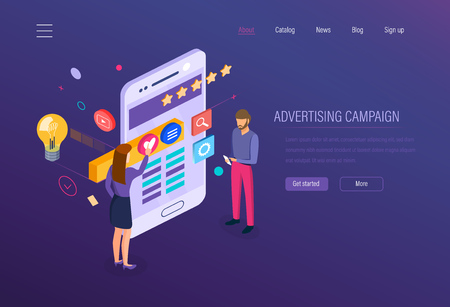 Advertising campaign. Digital media marketing, advertising online business, promotion company in social networks, planning, sales growth, business analysis, marketing research isometric vector.