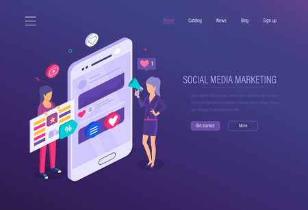 Social media marketing. Social network, online business marketing, strategy media planning, financial business analysis, advertising, content strategy and digital management. Isometric vector. 向量圖像
