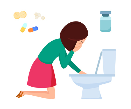 Health problems, Zika virus, malaria, human discomfort symptom. Girl feels discomfort, malaise, nausea, vomiting, indigestion. associated with disease Procedures treatment medication Cartoon vector