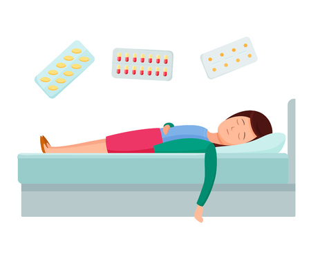 Health problems, Zika virus, malaria, human discomfort symptoms. Girl feel discomfort, malaise. Medical procedures in hospital, treatment medication. Hospital healthcare aid concept. Cartoon vector.