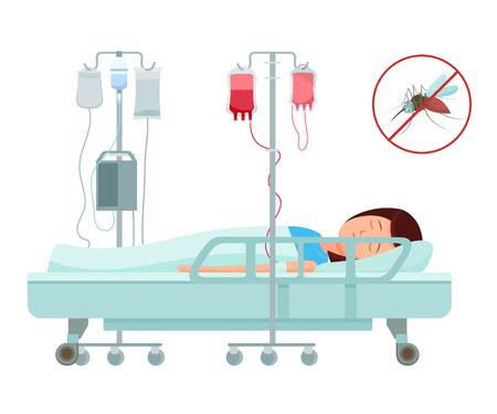 Health problems, Zika virus, malaria, human discomfort symptom. Girl feel discomfort, malaise. Medical procedures in hospital. Blood transfusion for treatment. Hospital healthcare aid. Cartoon vector. Illustration
