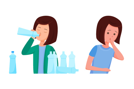 Health problems, Zika virus, malaria, human discomfort symptoms. Girl feels discomfort, malaise, nausea and constant thirst of water associated with the disease. Cartoon vector.