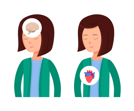 Health problems, Zika virus, malaria, human discomfort symptoms. Girl feels discomfort, malaise, thirst of water associated with disease. Effects on brain and cardiovascular system. Cartoon vector.