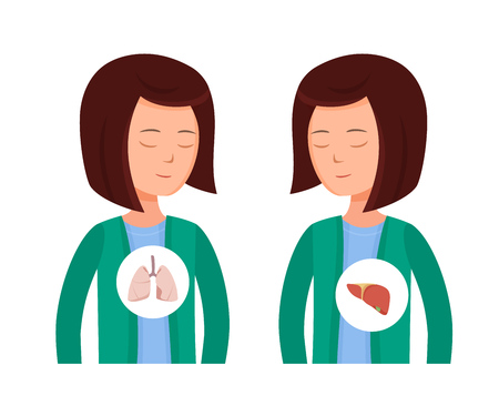 Health problems, Zika virus, malaria, human discomfort symptoms. Girl feels discomfort, malaise, thirst of water associated with the disease. Negative effects on the lungs and liver. Cartoon vector. 向量圖像