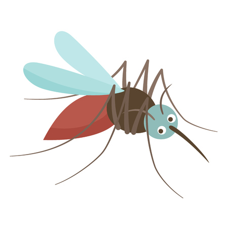 Anopheles mosquito drinks blood. Viral infectious source of diseases, dangerous insect, carrier of parasites, disease-causing creature. Vector illustration.