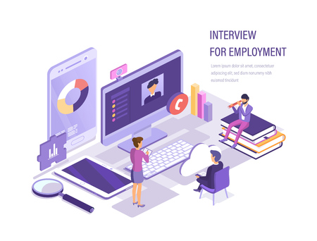 Interview for employment via webcam. Internet interview with head, search and selection of candidates, recruitment of personnel, hunt for human resources, study of the resume. Isometric vector.