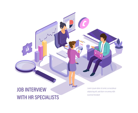 Job interview with HR specialists. Recruitment of personnel, hunt for human resources, study of the questionnaire and acquainted of resume, looks at possibilities of candidate. Isometric vector.