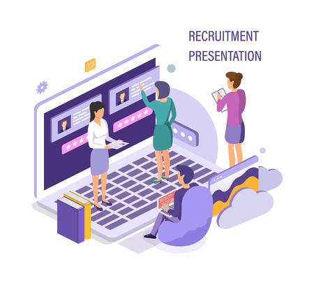 Recruitment presentation. Job hiring, online recruitment, social media communication, interviewing.