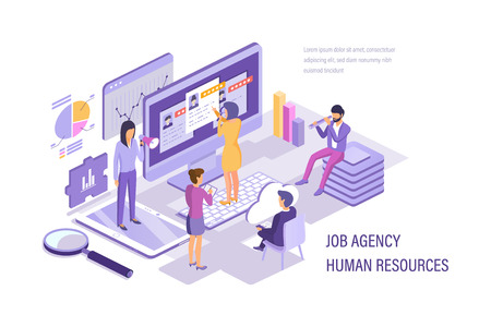 Job agency human resources. Human resources management, personnel department. Search working staff, selection, study resume, attracting candidates through smm, conduct an interview. Isometric vector. 向量圖像