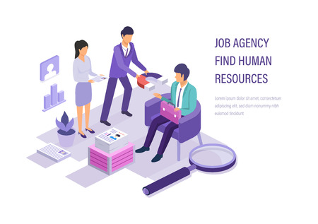 Job agency find human resources. Human resources management, recruit for business. Search working staff, selection job, study resume, teamwork, conduct an interview with candidate. Isometric vector.