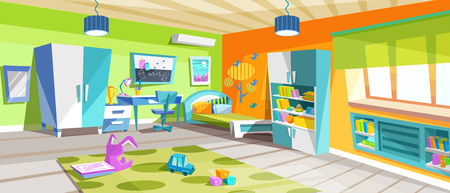 Bright kids room with beautiful furniture, working and study area.