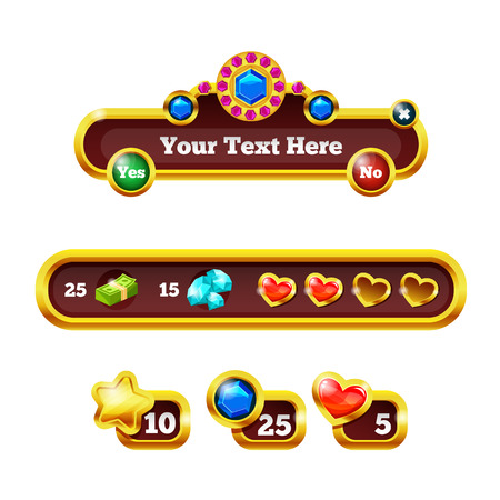 Element game interface. Game panel with buttons for 2d games. Scale with bonuses, heart, health indicators, money coins icons. Dashboard for mobile phone and web app. Game UI kit user interface vector