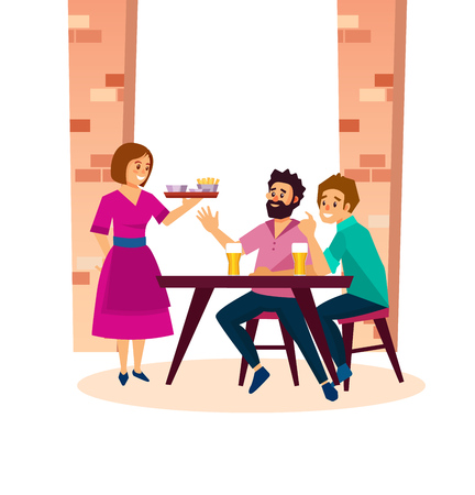Interior of pub with people, visitors, bartenders. Young people at a table, in a bar, cafe, take an order from a beautiful waitress. Order beer, snacks, fast food. Cartoon vector.