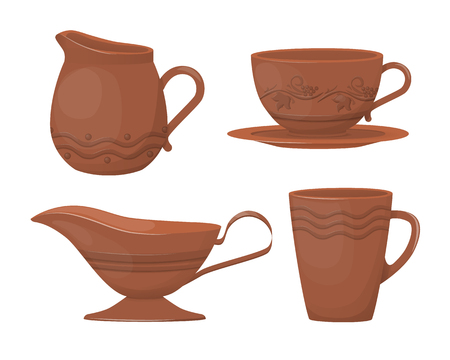 Ceramic pottery. Beautiful clay carafes with a decorative ornament.