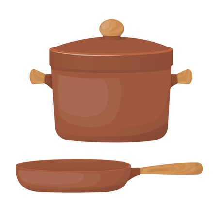 Ceramic pottery. Beautiful clay saucepan and frying pan.