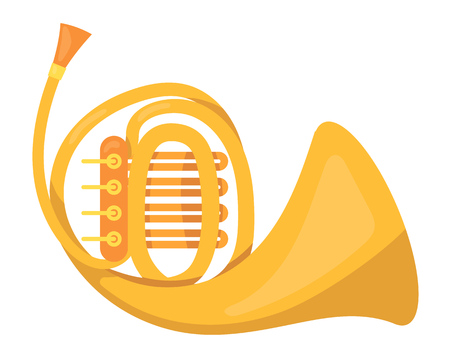 Metallic pipe, music tube. Wind classic metallic musical instrument, concert instrument tube for ethnic and concert performance. Festive accessory. Vector cartoon illustration isolated.