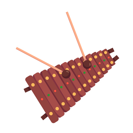 Voiced percussion musical instrument xylophone, with wooden base keys and percussion sticks. xylophone tool for festival performances, orchestras, schoolwork, children's entertainment vector