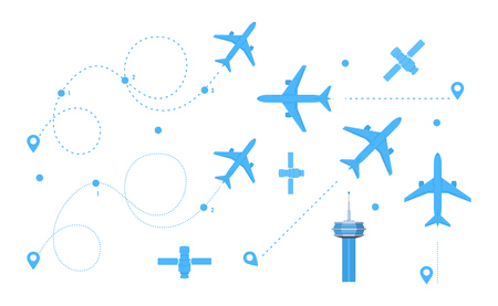 GPS tag for airplanes, set airplane dotted route line, air travel. Plane flights, line icon of the built path, dashed airplane flights start track. Navigation location geolocation vector illustration.