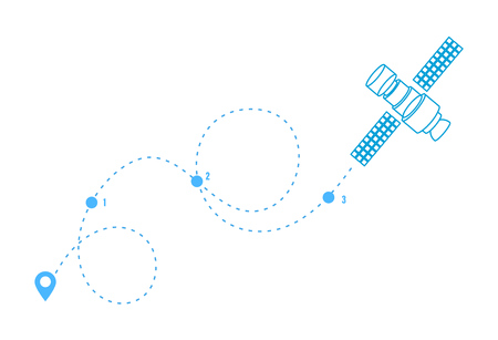 GPS tag for airplanes, satellites, with the help of tower, air travel, trip. Line icon of the built path, pointer of flight on map. Navigation location, geolocation. Vector illustration.