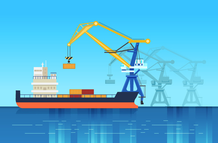 Loading from mooring of freights, by means of the crane, for further delivery. Logistic services for the delivery, transportation of goods by water. Cargo ship, water transport. Vector illustration.