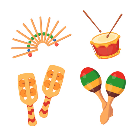 Beautiful percussion-noise musical instruments: rattles, drum, maracas. Festive musical instruments with decorative ornaments for concerts, events, festivals. Vector illustration isolated. 向量圖像