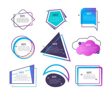 Set of various quotes and speech bubbles, blank layout template, quote box frame, text in colored brackets, quotes within frames. Quotes for statements and comments, texting quote speech vector