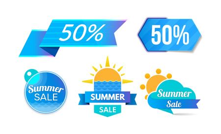 Summer discount, sale 50 , promotions, discount program. Collection of colorful stickers, labels, shopping, promotions, special offers. Super summer sale vector illustration isolated 向量圖像