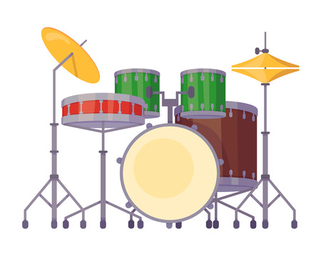 Beautiful modern percussion musical instrument, drum kit with wooden sound barrels, metal plates and sticks. Musical instrument for concerts, festive orchestra performances vector cartoon illustration 向量圖像