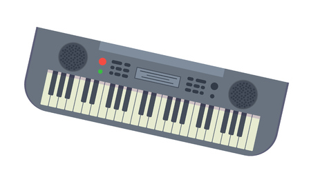 Beautiful modern musical synthesizer with lot of different keys and functions. Electronic piano. Traditional musical instrument for holidays, carnivals, fun events. Vector illustration isolated.