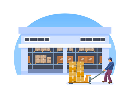 Warehouse employee, engaged transportation, storage, shipping of boxes with cargo on lift truck. Warehouse interior box, logistic delivery service, sorting in the logistic warehouse cartoon vector
