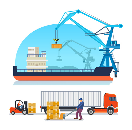 Warehouse employee, engaged transportation, storage, shipping of boxes with cargo truck. Logistic service for delivery goods. Cargo ship, transportation container ship sea port vector illustration. 向量圖像