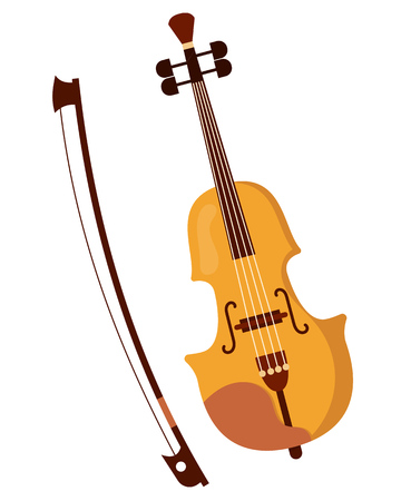 Beautiful wooden classical musical violin, bow for playing on it.