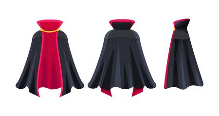 Schwarzer Umhang, Superhelden-Umhang, Dracula-Vampir-Karnevalskostüm.