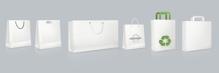 Set of mockup of realistic white paper bag with logotype. Illustration