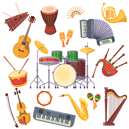 Set of musical instruments. Violin, harp, drums, guitar, bagpipes, accordion, wind pipes, xylophone, rattles synthesizer Musical instruments for holidays carnivals events Vector illustration