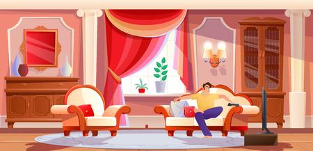 Hombre descansando delante de la TV en la luminosa sala de estar.
