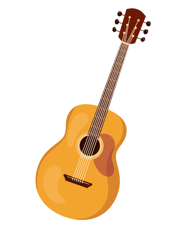 Classical stringed musical instrument guitar, with beautiful decorative ornament. Wooden acoustic six-stringed guitar for concerts, holidays, festivals. Vector cartoon illustration isolated.