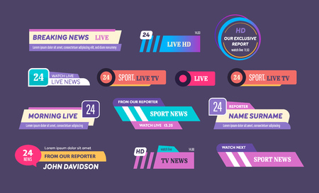 News bar logos, icons of news feeds, television, radio channels