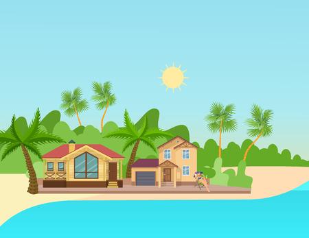 Belle jeune fille se reposant sur la plage d'été au bord de la mer, bronze au soleil, près de la maison de campagne, chalet, sur fond de palmiers et d'île. Immobilier de banlieue moderne. Illustration vectorielle. Vecteurs