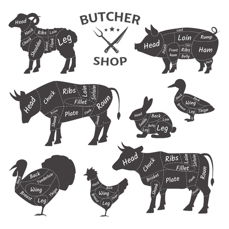 Loghi di macelleria. Animali domestici divertenti, animali. Mercato dell'agricoltore di carne agricola. Schema animali da macellaio: tacchino, anatra, pecora, montone, maiale, pollo, mucca, coniglio Tipi di schemi di carne per la macellazione vettore
