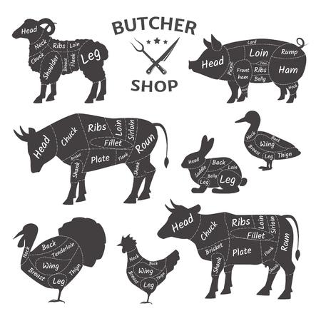 Metzgerei-Logos. Lustige Haustiere, Tiere. Bauernmarkt für landwirtschaftliches Fleisch. Diagramm Metzgerhaustiere: Truthahn, Ente, Schaf, Widder, Schwein, Huhn, Kuh, Kaninchen Arten von Fleischschemata für das Schlachten von Vektor