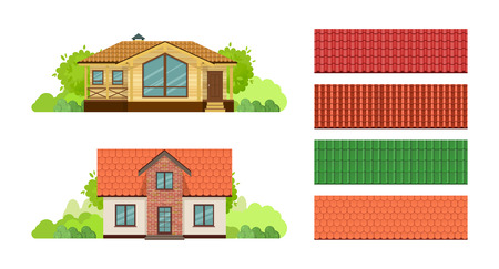 Country houses, townhouse, cottages, guesthouse, with roof, covered with tiles. Illustration