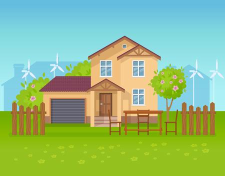 Ökologisches Landhaus, Ferienhaus, Gästehaus, saubere Ökologie, Öko-Natur. Vektorgrafik