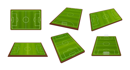 Set of realistic soccer football field, sports grounds for soccer games, from different angles. Playing football field with lawn, green stadium ground. Vector illustration isolated.