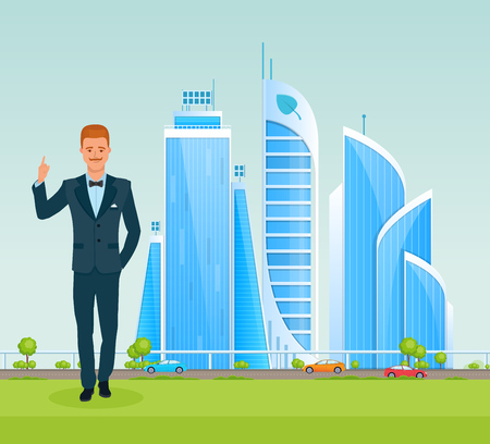 Man guide for country, shows city and talks about sights, conducts a excursion tour, explains details about city or country visit. Urban landscape, architecture, high-rise buildings. Cartoon vector. Ilustração