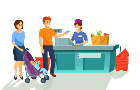 Young family near cashiers counter pays for goods purchased. Building of store, shopping center, concept of family joint purchases, cashier with goods. Cartoon vector. Vectores