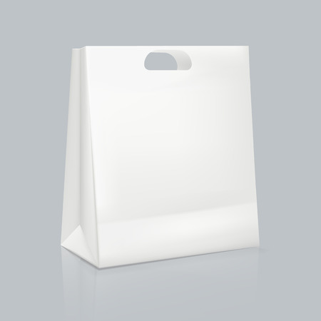 Mockup of realistic white square paper bag. Corporate identity packaging. Illustration